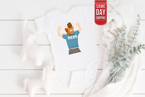 Daddy Hero Bodysuit, Super Dad Babygrow, Cute Onesie, French Gift Baby, Cute New