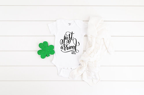 PERSONALISED Just Arrived Baby bodysuit