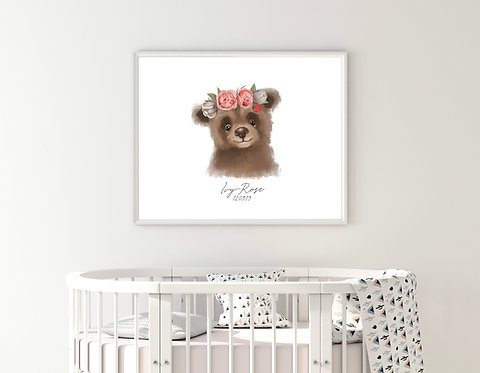 Baby Bear Name Custom Print | Print Poster Wall-art Gift Personalised Room | A4