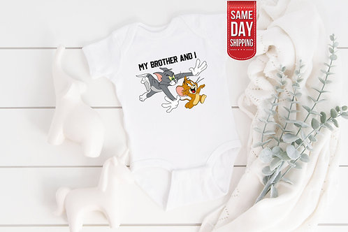 Mother Day Bodysuit, Tom and Jerry Brother Babygrow, Cute Onesie, French Gift Ba