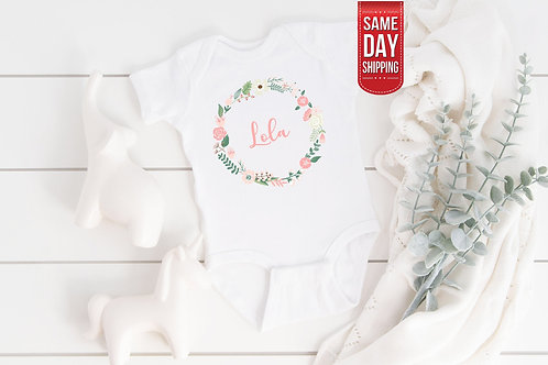 PERSONALIZED Floral Baby Name Onesie, baby gift, baby shower, baby body suit, pe