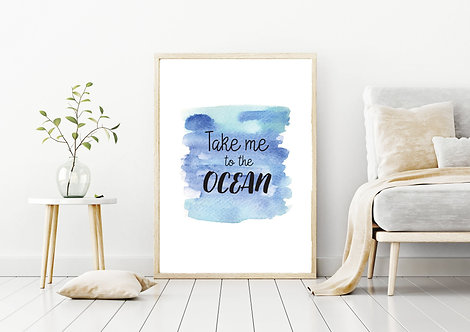 Ocean Beach Quote Poster | Print Poster Wall-art Gift Personalised Room | A4 | A