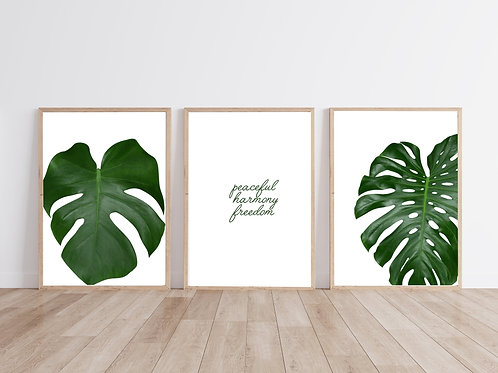 Peace, Tropical Plants, Monstera Poster | Print Poster |  Triptych