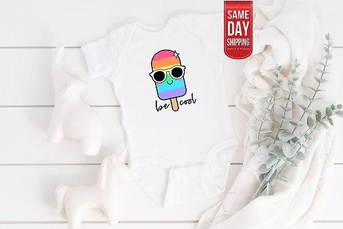 Be Cool Ice Cream Baby Bodysuit, Cute Newborn gift Babysuit, Custom Onesie, Ones
