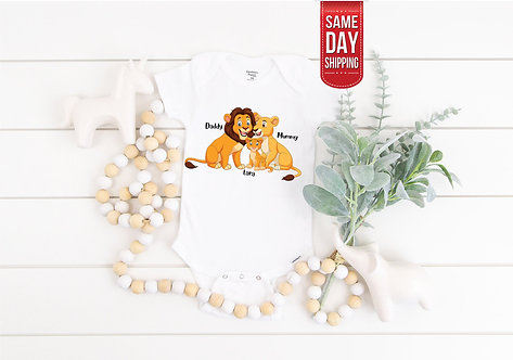 PERSONALISED Baby Lion King Family onesie, baby gift, baby shower gift, personal
