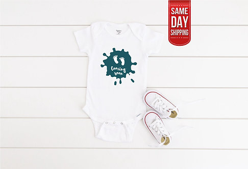 Coming Soon Baby bodysuit, new baby gift, baby shower, birth gift personalized,
