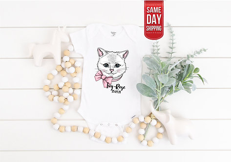 PERSONALISED Baby Cat Kitty bodysuit, baby gift, baby shower, baby body suit, pe