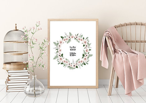 Custom Print Baby Poster | Print Poster Wall-art Gift Personalised Room | A4 | A