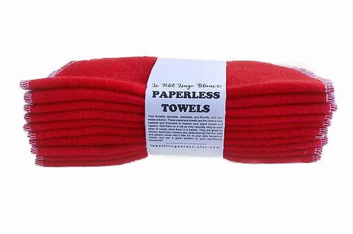 Set of Red Paperless Towels Wipes •  Unpaper EcoFriendly Zero Waste •  Kitch