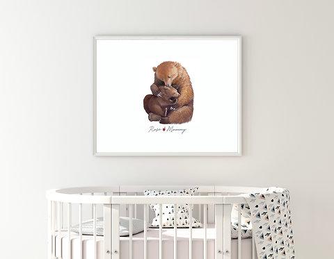 Bear Custom Print Mum & Daughter Dad and Daughter | Print Poster Wall-art Gift P