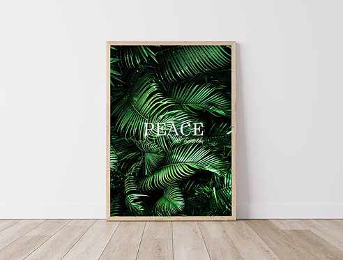 Peace, Tropical Plants Palm Leaves, Monstera Poster | Print Poster Bedroom Quote