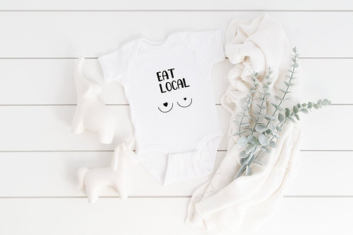 Funny bodysuit EAT LOCAL baby gift, baby shower, baby body suit, personalised ba