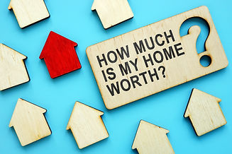 How Much is My Home Worth sign and red h