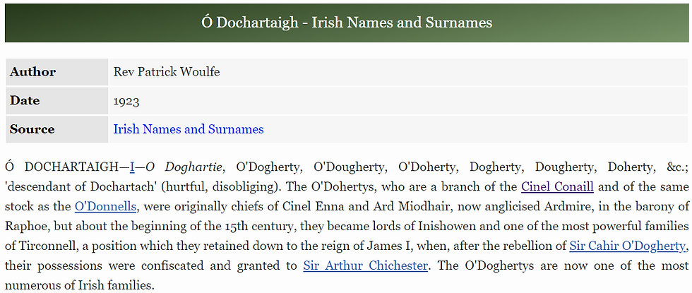 Meaning and Origin of the O'Dochartaigh, Doherty, Dougherty, Daughert, and Docherty surname