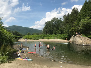 Swimmers at the Lareau Swimming Hole