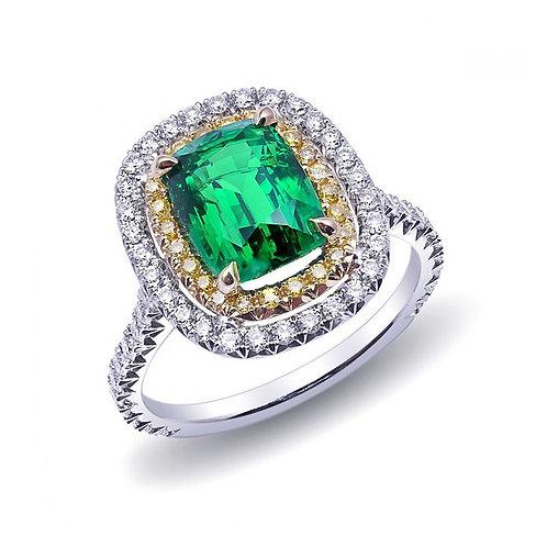 Platinum 3.78ct TGW Certified Natural Tsavorite White and Yellow Diamond Ring