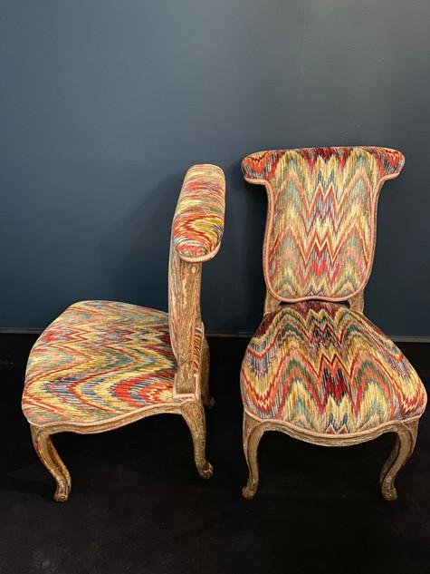 Paire de chaises dites voyeuses d'époque Louis XV