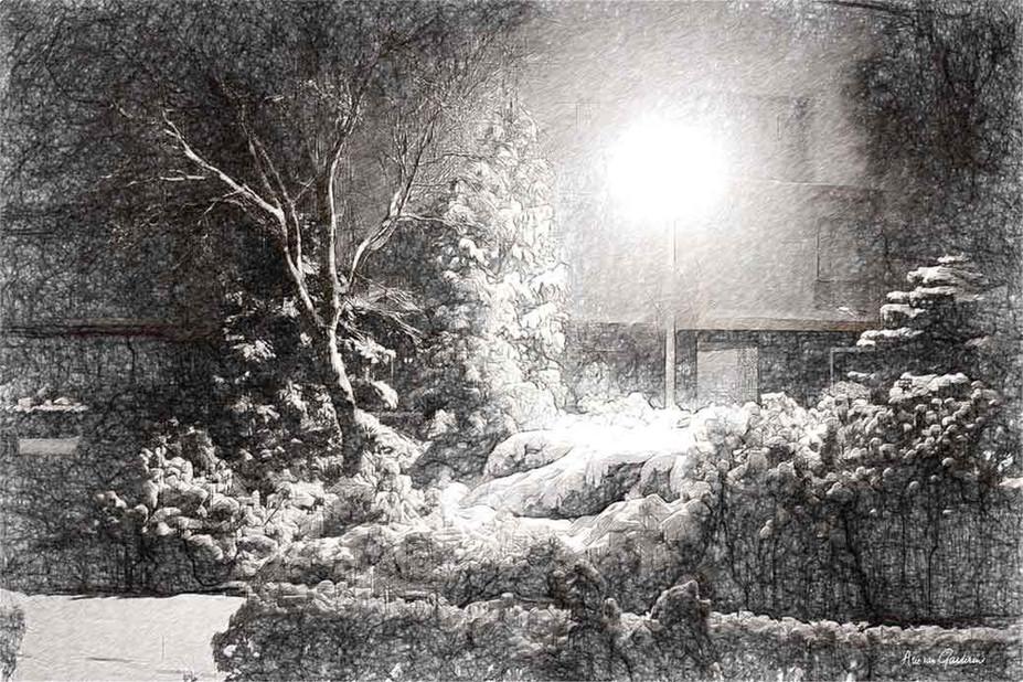Nachtelijke sneeuw