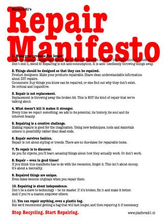 """""""Repair Manifesto"""" para un consumo responsable"""