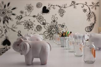 Taller de pintura creativa de Elefantes Ahorradores