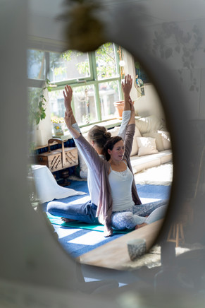 Partner yoga stretching