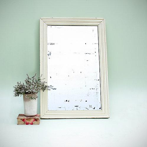 Grand miroir au mercure & cadre en bois