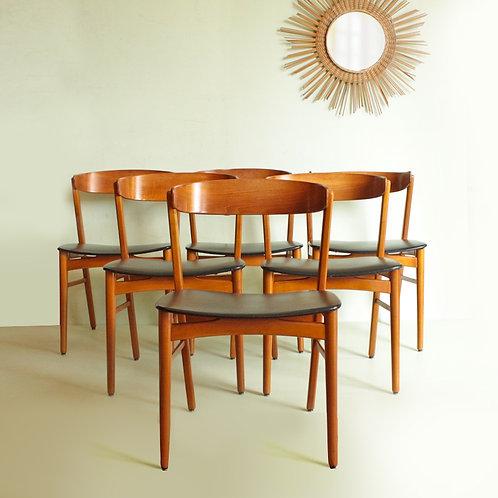 Suite de 6 chaises vintage style scandinave