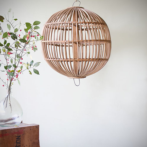 Grande suspension/cage rotin vintage