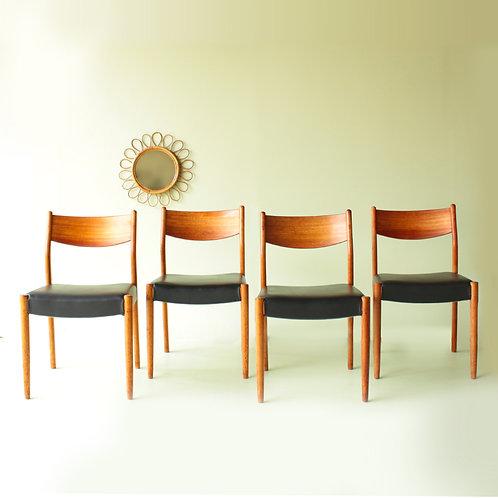 4 chaises design scandinaves teck et cuir