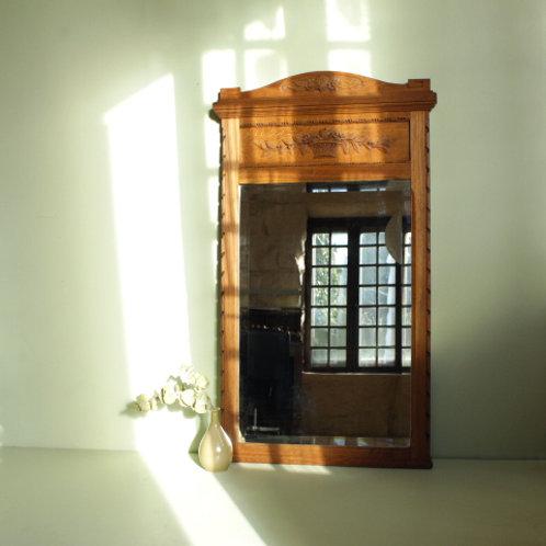 Trumeau en bois et miroir biseauté
