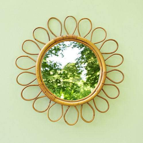 Miroir fleur en rotin - vendu