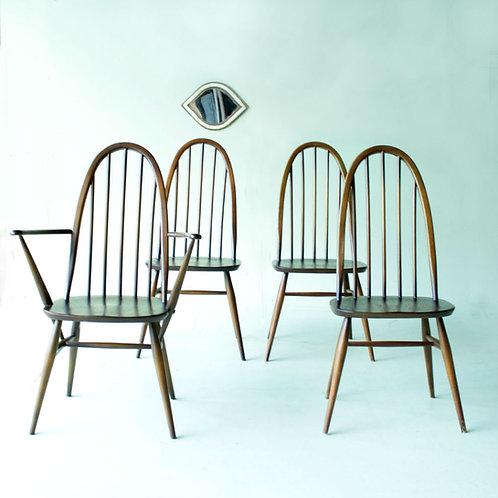 Série de 3 chaises et 1 fauteuil à bras par lucian Ercolani pour Ercol - 1960