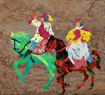 Passeio romântico a cavalo pictórico