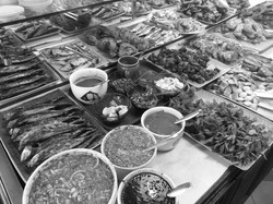 Main dishes at a Malay restaurant
