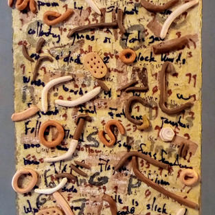Bits and Pieces of a Poem, Ceramic, Handmade Paper, and Sharpie on Canvas