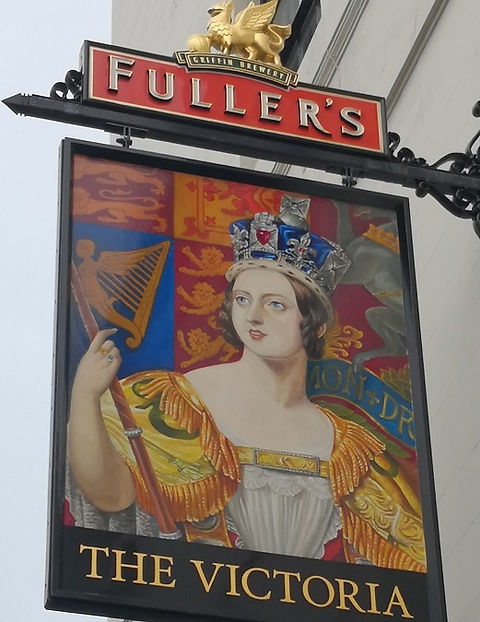Pub sign of The Victoria pub in Paddington