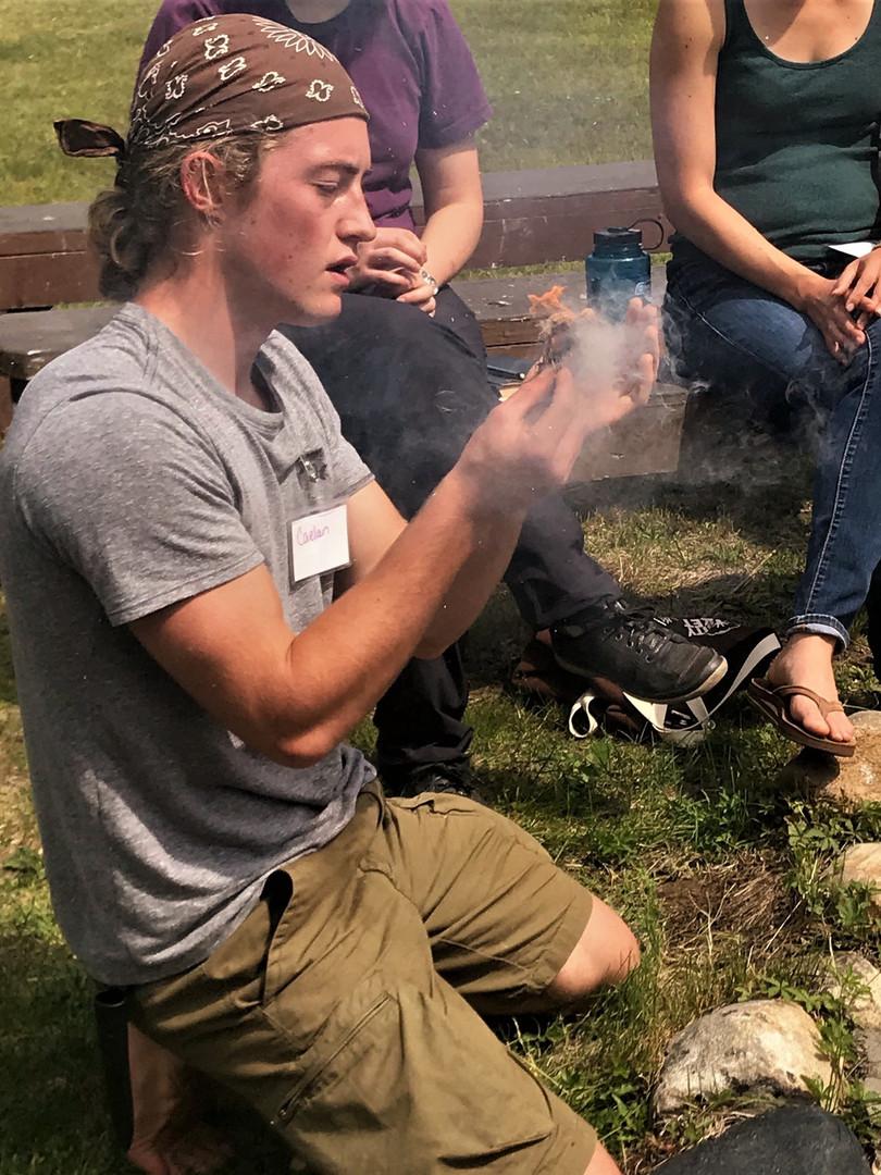 Caelan Dunwoody demonstrates primitive fire