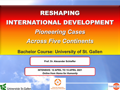 15 April: Reshaping International Development Course– Showcase for Transformative Integral Education