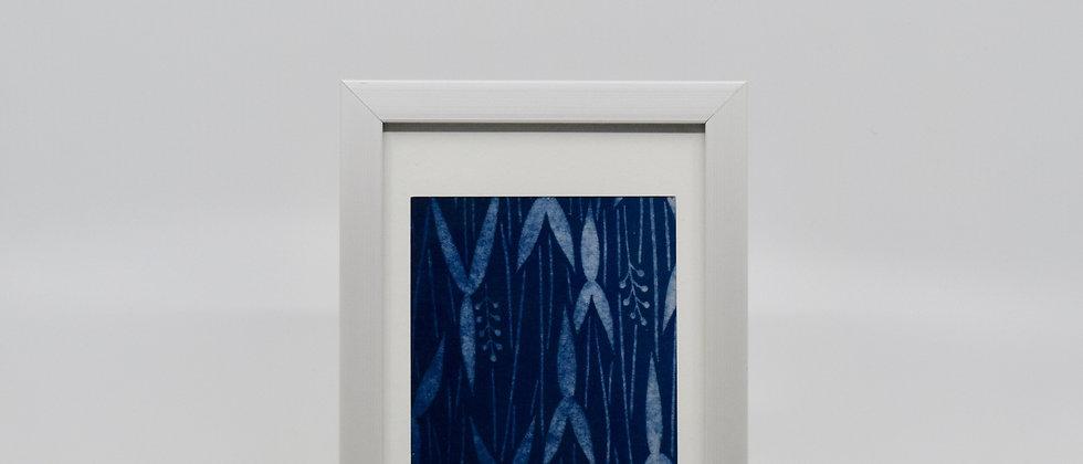 Cadre Katazome - indigo naturel sur coton - bambou