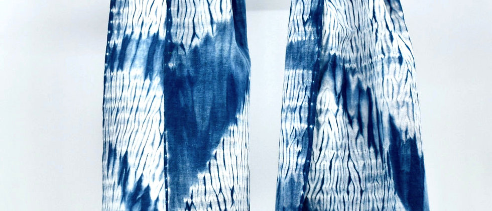 Foulard teinture indigo sur coton japonais - shibori