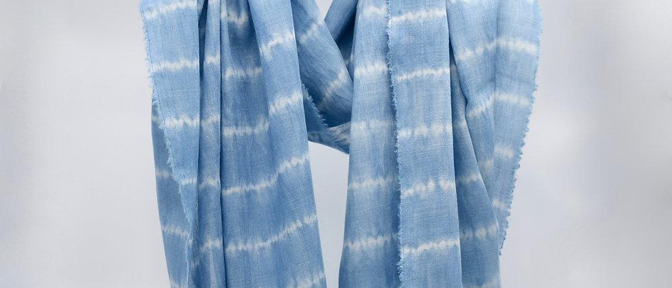 Indigo - Etole étamine de laine et soie - teinture artisanale