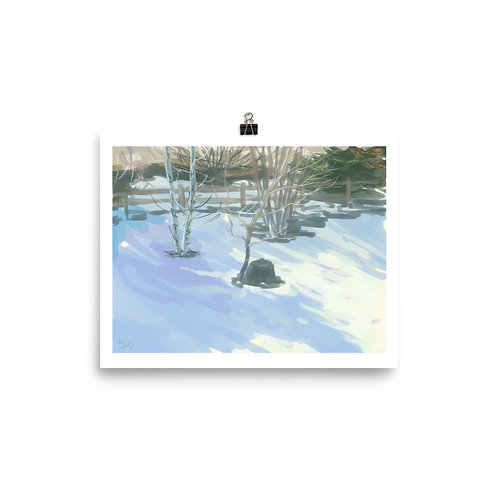 Plein Air of Backyard in Snow Print - K.A. Unfug