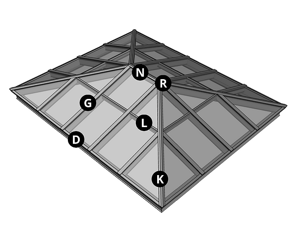 Double Hip Ridge Skylight with Callouts.