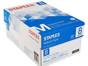 Staples Multipurpose Paper 4,000 Sheets $26.99 (51% Off) + Free Shipping