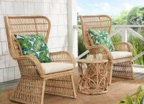 3-Piece Brown Wicker Outdoor Seating Set w/Beige Cushions $374.25 << $499 (Today Only)