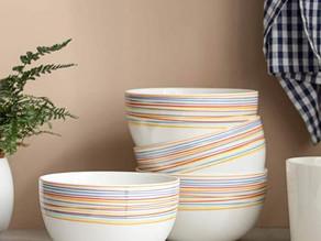 Deep Cereal Rainbow Stripes Bowls 30 oz 4-Set $13.99 (50% Off)