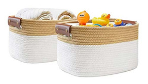Cotton Rope Medium Rectangle Basket 2-Set $14.99 (70% Off)