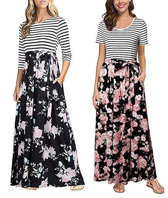Floral Print Tie Waist Maxi Dress   Kongdeals은 핫딜, hot deals, 할인쿠폰,아마존 할인코드, 아마존 쿠폰 코드, Amazon, coupons, promo codes, coupon codes, freesbees, sale, clearance 등 미국 쇼핑 채널 세일 및 브랜드 정보를 매일 공유