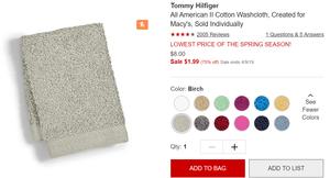 Tommy Hilfiger Cotton Bath Towel, Created for Macy's | Kongdeals 콩딜은 핫딜, hot adeals, 할인쿠폰,아마존 할인코드, 아마존 쿠폰 코드, coupons, promo code, coupon code, freesbees, 무료 선물등 특별히 선별된 미국 쇼핑 채널 및 브랜드 정보를 매일 공유합니다.
