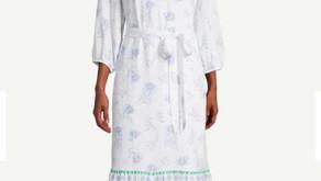 Ann Taylor Border Floral Tie Waist V-Neck Dress $9.88 << $119.99